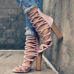 Stylish Pointed Open Toe Caged Chunky Heeled Sandals