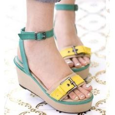 Wholesale Fashion wedges cake with female sandals CZ-0710 green - Lovely Fashion
