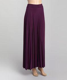 Another great find on #zulily! Dark Purple Wide Waistband Maxi Skirt by Paniz #zulilyfinds