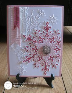 Stampin' Up! stamp set Festive Flurry & matching framelits, Northern Flurry embossing folder; By Hayley Kew - Dynamic Duos: DD#72 {Get Your PINK On!} #stampinup #christmascard