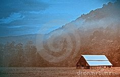 Barn, field, and mountains in West Virginia