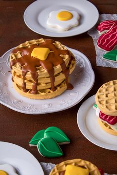 Decorating waffle cookies with royal icing is really fun. With a little imagination & royal icing you can make your favorite breakfast food.
