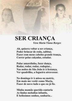 """Vera Maria Viana Borges: SER CRIANÇA (Do Livro """"TRILHAS POÉTICAS - Vera Mar..."""