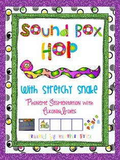 Have fun with Stretchy Snake hopping out words in huge Elkonin boxes to help with phonemic segmentation. There are 125 cvc words and lots more in this packet of fun.