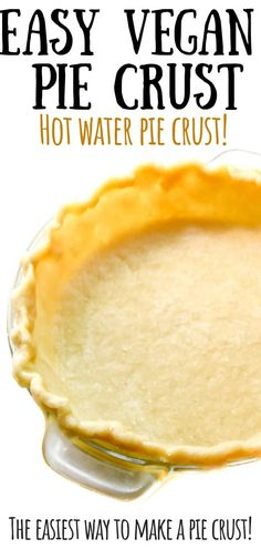 This is a super easy, no-fail, vegan pie crust recipe made with 5 simple ingredients you already have: flour, salt, baking sod… Low Carb Pie Crust, Vegan Pie Crust, Easy Pie Crust, Pie Crust Recipes, Vegetable Oil Pie Crust Recipe, Pie Crust With Oil, Hot Water Pie Crust Recipe, Bread Recipes, Vegan Dessert Recipes