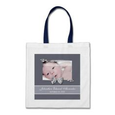 An elegant grey photo birth announcement tote bag with a silver ribbon bow design. Personalize by adding your newborn baby picture, baby name, and birth date. http://www.zazzle.com/elegant_photo_birth_announcement_silver_ribbon_bag-149321162992212205?rf=238835258815790439