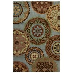 @Overstock.com.com - Jennifer Blue Medallion Rug (5'3 x 7'10) - This colorful medallion rug adds a touch of elegance to your living room floor while providing a comfortable walking space. It has a sky-blue background that creates a soothing look, and the ornate medallion designs make the rug look more exotic.  http://www.overstock.com/Home-Garden/Jennifer-Blue-Medallion-Rug-53-x-710/7894179/product.html?CID=214117 $94.59