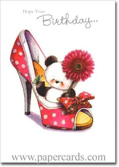 Panda in Large High Heel Shoe (1 card/1 envelope) - Birthday Card-FRONT:Hope your Birthday…INSIDE:…is filled with sweet surprises! Happy Birthday!