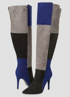 7919e5db6e1c Womens Plus Size Colorblock Over The Knee Boot Wide Calf Wide Width High  Heels Stilettos