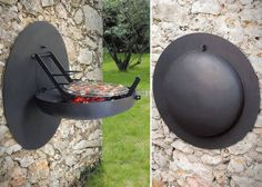 Space-Saving Backyard Cookers - The Wall Mounted BBQ Grill Makes the Most of Otherwise Wasted Space Mini Grill, Bbq Grill, Mini Barbecue, Bbq Bar, Design Barbecue, Grill Design, Apartment Needs, Apartment Living, Folding Walls