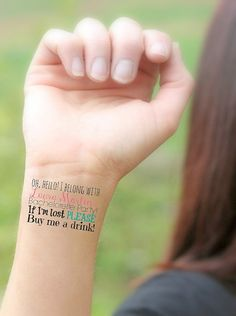 Hen party Temporary Tattoos - Custom set of 6, unique funny gift, Buy me a drink, Bachelorette, Wedding Party, Maid of honor. Just like Lauren Conrad's tattoos at her hen party.
