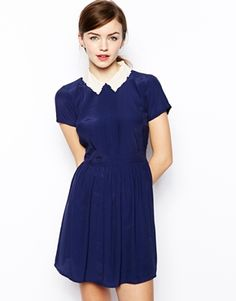 ASOS Skater Dress With Cutwork And Embroidered Collar