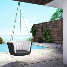 Porch Swing Cushions, Wicker Porch Swing, Porch Swing With Stand, Hanging Swing Chair, Swing Seat, Swinging Chair, Swing Chairs, Hanging Chairs, Seat Cushions