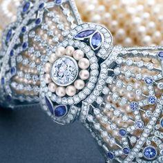 Edwardian-style bracelet in platinum with Montana sapphires, diamonds and Keshi pearls. #TiffanyPinterest #TiffanyBlueBook #bracelet