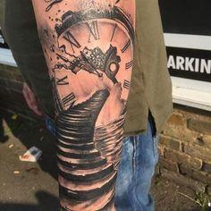 Resultado de imagen de stairs to clock tattoo