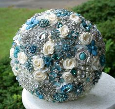 Teal, turquoise and aqua brooch bouquet.