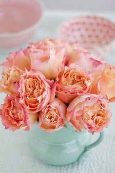 Pretty flowers in teapot: coral and Tiffany blue! Peach Flowers, Beautiful Flowers, Coral Roses, Coral Peonies, Peach Rose, Pretty Roses, Orange Roses, Fresh Flowers, Prettiest Flowers