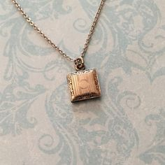 Antique Locket Tiny Silver Square Locket with by SweetheartLane