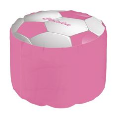 Customizable Football Soccer Ball Pink and White Round Pouf