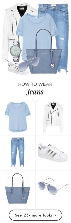 """Blues"" by jomashop on Polyvore featuring Yves Saint Laurent, MANGO, adidas, Splendid, Michael Kors, Anne Klein, white and Blue"