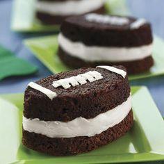 Football Brownie Ice Cream Sandwiches