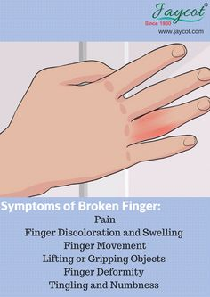Check out the Symptoms of Broken Finger here.