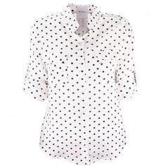Women's Polka Dot V-neck Chiffon Elegant Casual Shirt Blouse at Amazon... ($16) ❤ liked on Polyvore featuring tops, blouses, chiffon blouse, polka dot chiffon top, chiffon top, v neck blouse and white chiffon blouse
