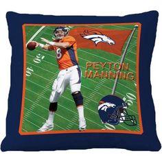 Biggshots Denver Broncos Peyton Manning 18 inch Toss Pillow, Blue
