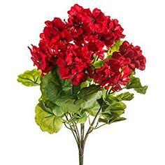 "THREE 18"" Artificial Geranium Flower Bushes in Red for Home, Garden Decoration"