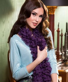 Fancy Frills Knit Scarf Free Knitting Pattern from Red Heart Yarns