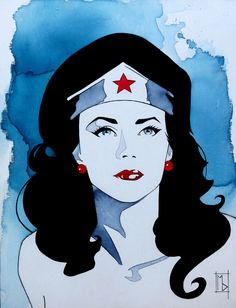 """mdartstudio:  Lynda Carter, 14""""x18"""", Mixed Media on canvas board, 2015.The original Wonder Woman. Many people tend to forget this beautiful, confident and classy lady is Latina. Her mother was part Mexican. This piece will be on display in San Diego during ChicanoCon. See you at SDCC!!!!Thank you and Salud!!!!Add me on facebook– *https://www.facebook.com/michelle.delecki"""