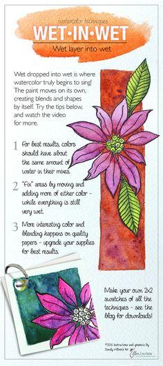Wet in Wet Watercoloring Reference Guide by @sandyallnock for the #EllenHutsonLLC blog. #EssentialsbyEllen