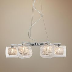 Possini Euro Design Wire and Glass Cylinder Chandelier -    nice for the dining room