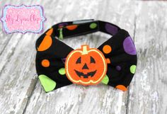Halloween Pumpkin Velcro Strap Bow Tie by SkyLynnClips on Etsy, $12.00