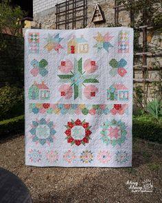 Beautiful sampler quilt featuring Nadra Ridgeway's Backyard Roses fabric line #iloverileyblake #fabricismyfun