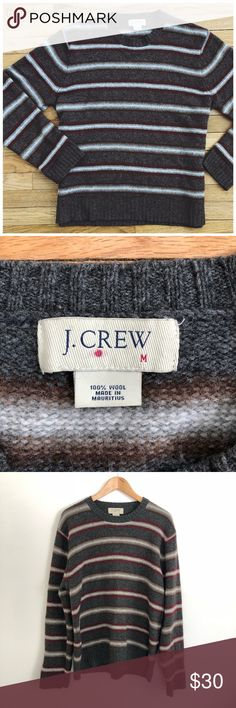 """J. Crew 100% Wool Crew Neck Sweater M Stay warm and look good in this 100% wool striped sweater from J. Crew is the perfect item to grab for late winter. This sweater will look great with your favorite pair of designer jeans, and is in great pre owned condition with no major flaws or defects.  Measurements  Chest 23""""flat Length 27"""" J. Crew Sweaters Crewneck"""