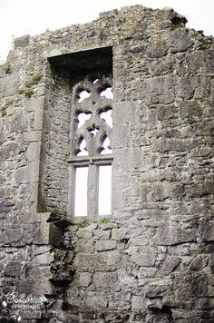 Stone window at Clare Abbey, County Clare, Ireland