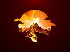 Volcano by Andrey Prokopenko Mountain Illustration, Flat Illustration, Landscape Illustration, Digital Illustration, Volcano Drawing, Flat Design Inspiration, Pixel Art, Ying Y Yang, Mountain Drawing