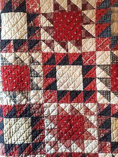 Old-vintage-antique-indigo-blue-calico-fabric-handmade-quilt-cutter-textile-AAFA