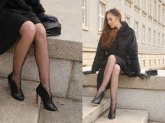 www.streetstylecity.blogspot.com  Fashion inspired by the people in the street ootd look outfit sexy heels legs woman girl skirt dots leather gloves pantyhose