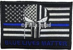 Patch Squad Men's Tactical USA Flag Bleeding Punisher Blue Lives Blue Line Patch