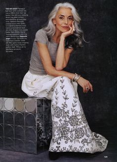 I love her hair! It is ok to embrace that silver. :) hmmm... I need to work out. lol! :)