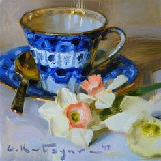 "Daily Paintworks - ""Cobalt Cup and Daffodils"" - Original Fine Art for Sale - © Elena Katsyura"