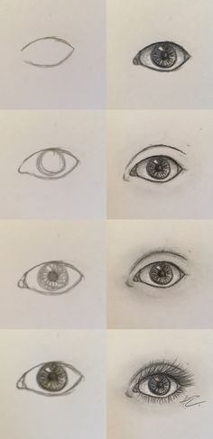 Semi-Realistic eye step by step easy eye drawing, eye drawing