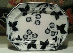Antique Flow Mulberry Black Staffordshire Platter 1830 Rare Strawberries Pattern. SB $95 Platter, China, Antiques, Tableware, Vintage, Antiquities, Antique, Dinnerware, Tablewares
