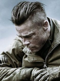 Undercut or Slicked Back High Fade? Brad Pitt's Fury Hairstyle and Cut.