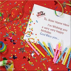 God Bless You Happy Birthday eCard With Sister Name.Happy Birthday Party Card With Name For Sister.Write Sister Name On Birthday Card. Happy Birthday Ecard, Happy Birthday Celebration, Happy Birthday Greeting Card, Happy Birthday Parties, Very Happy Birthday, Sister Birthday, Happy Friendship Day Picture, Friendship Day Greetings, Unique Birthday Cards