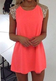 Nacarat Patchwork Sequin Sleeveless A Type Dress