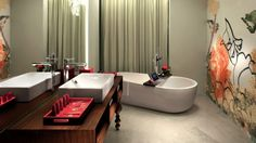 The peony-themed decor of Hong Kong's Mira Moon Hotel continues into the bathrooms. Photo: Supplied