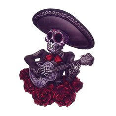 """This is a 2.5"""" x 3.5"""" Day of the Dead temporary tattoo of a sugar skull mariachi skeleton playing the guitar."""